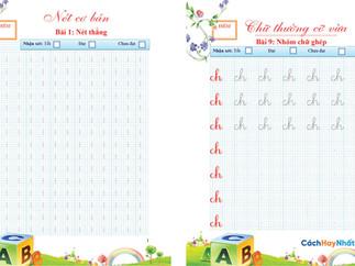 Vở mẫu luyện nét cơ bản, chữ thường cỡ vừa trong tập viết