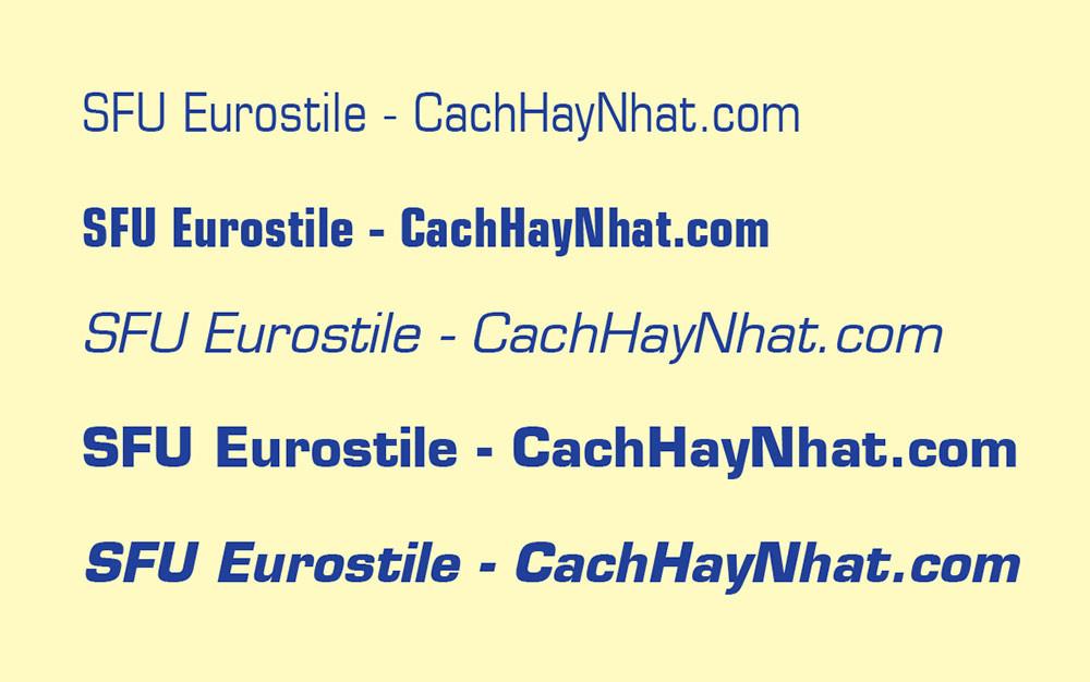 các mẫu bộ font SFU Eurostile Việt hóa