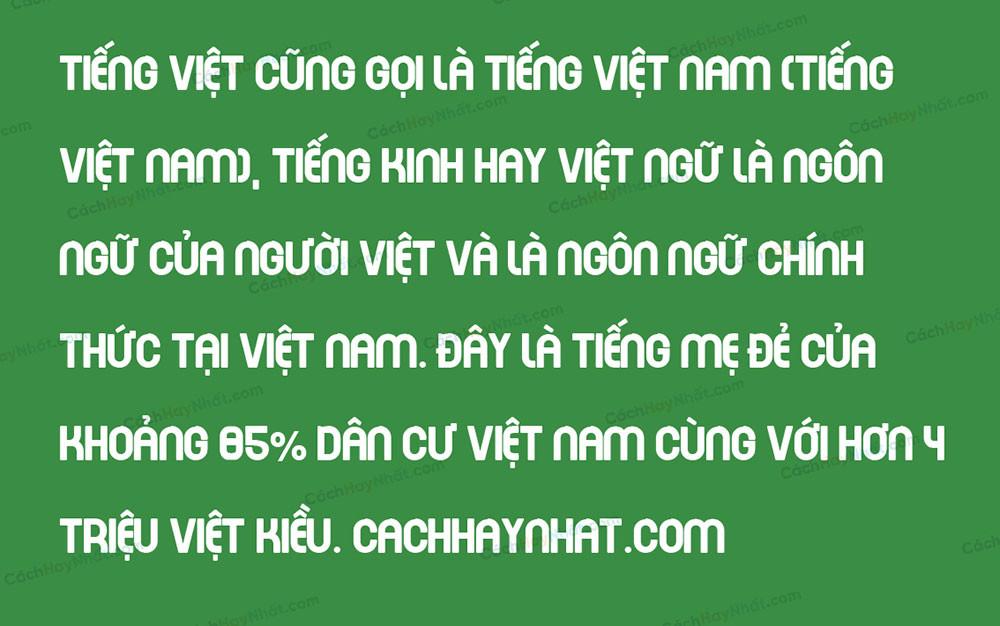 Đoạn văn bản mô tả Font SVN Every Movie Every Night Việt