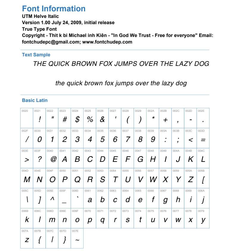 Font UTM Helve Italic