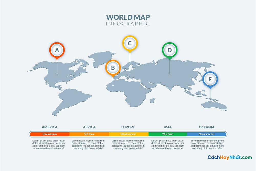 Bản Đồ Thế Giới light theme world map infographic