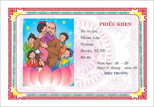 Mẫu Phiếu Khen Cháu Ngoan Bác Hồ Certificate Of Merit to Uncle Ho Vector