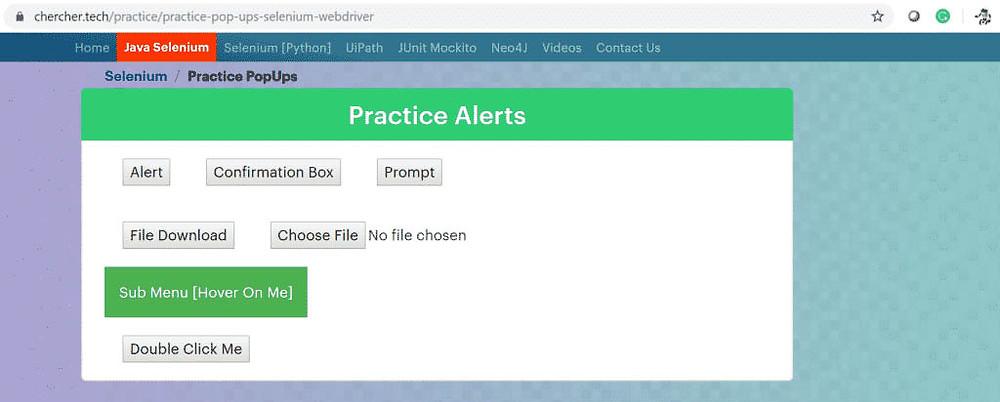 Các trang thực hành trên trang web của bạn:
