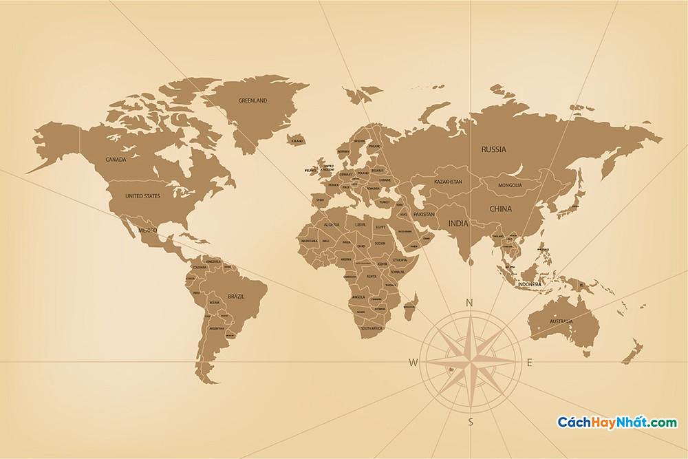 Bản Đồ Thế Giới detailed vintage world map concept