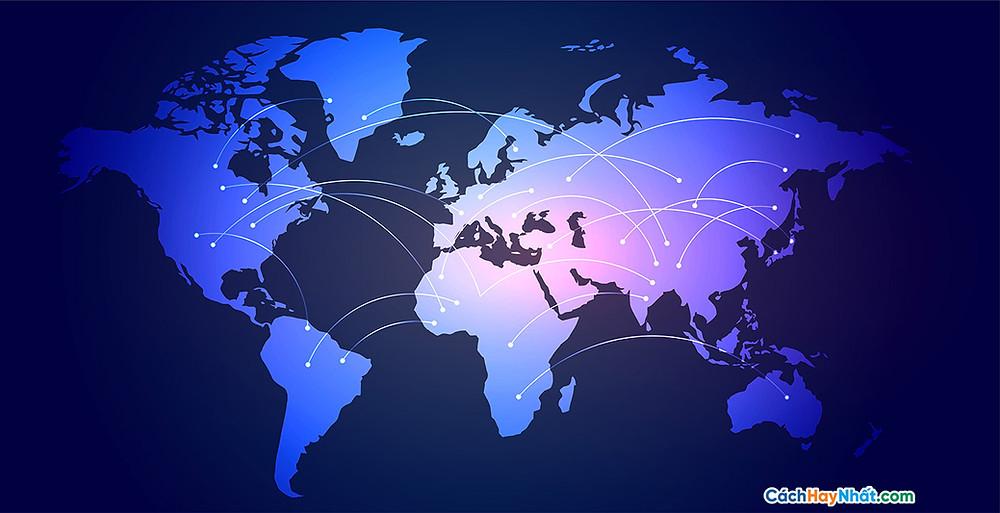 Bản Đồ Thế Giới global network connection world map digital background