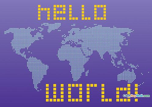 Bản Đồ Thế Giới Hello World Vector