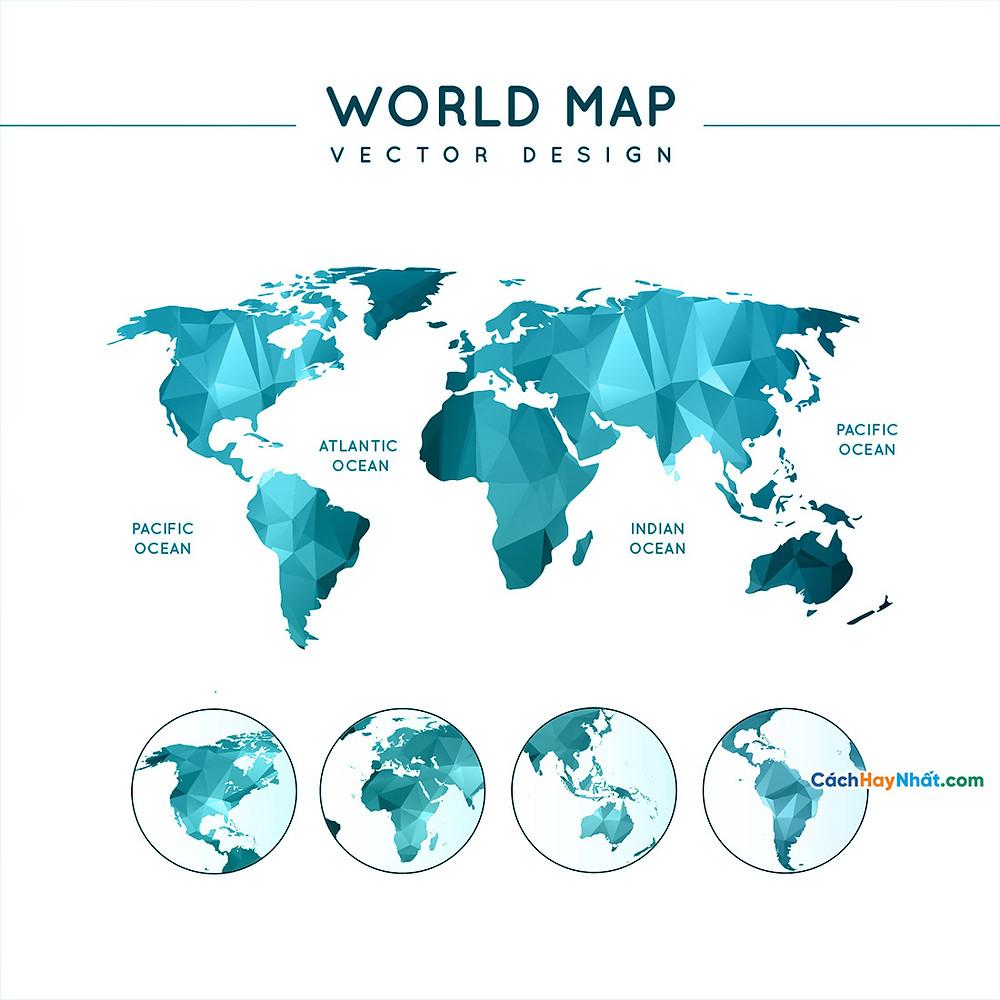 Bản Đồ Thế Giới polygonal world map