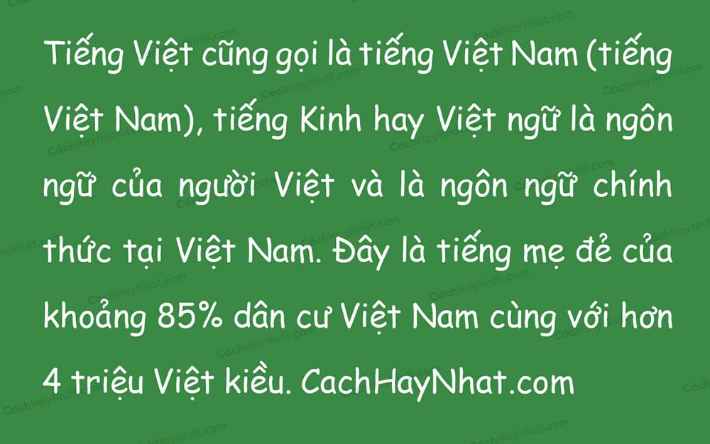 đoạn văn bản font VNF Comic Sans Việt hóa