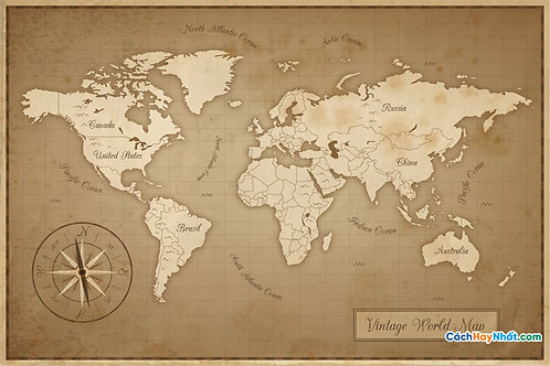 Bản Đồ Thế Giới Vintage Old World Map Vector