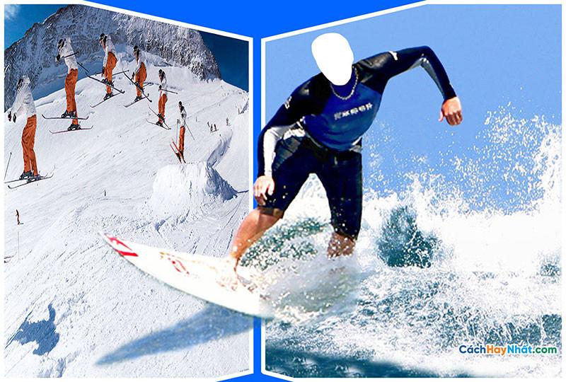 PSD ghép ảnh trượt tuyết
