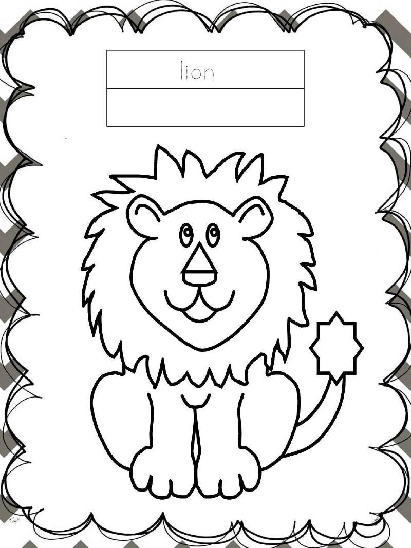 Tập tô màu động vật cho bé - con sư tử - lion