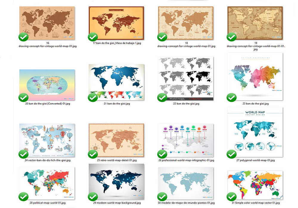 Tổng Hợp Bản Đồ Thế Giới World Map File Vector Corel AI EPS Part 02