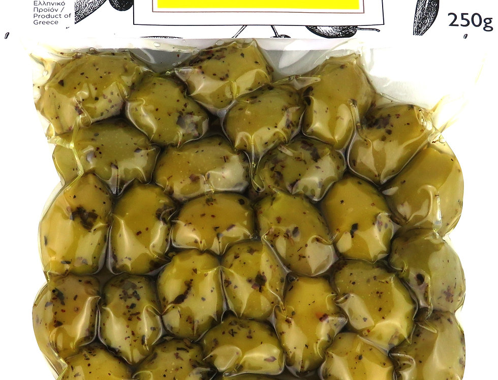 grüne Oliven Oregano - Zitrone 250g