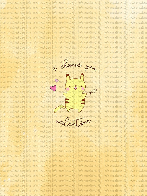 """Kawaii,  I chose you Valentine child panel in yellow CL, 15""""x18"""" clearance"""