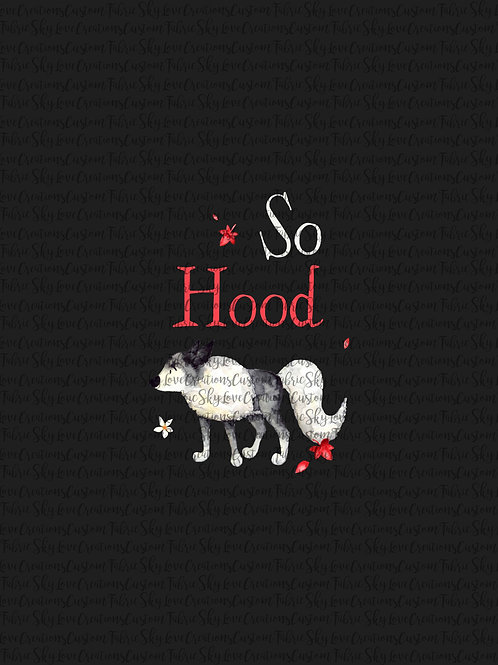 So Hood Wolf Panel (off black color) cotton lycra retail