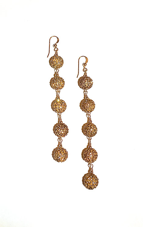 5-Star Crystal Pave Earrings - Gold