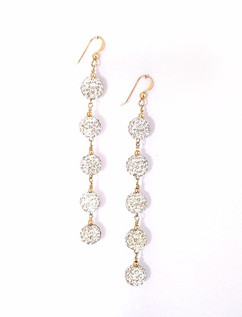 5-Star Crystal Pave Earrings - White