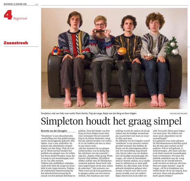 Dagblad Zaanstreek/NHD, 23-1-2019