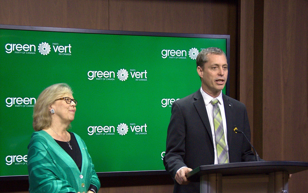 Elizabeth May and Paul Manly at press conference