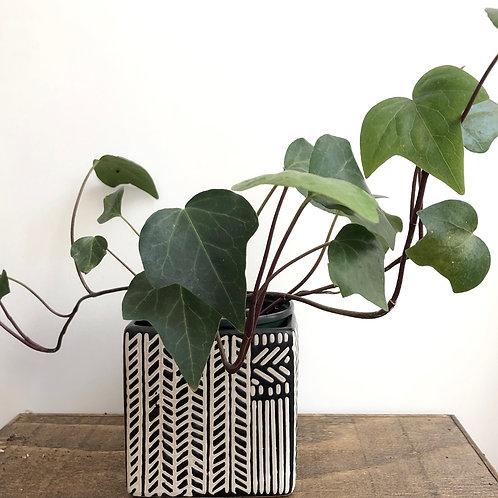 4 inch square ceramic planter