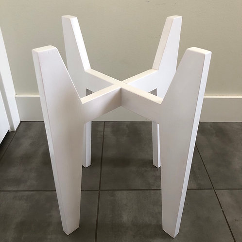 Wood plant stand-white