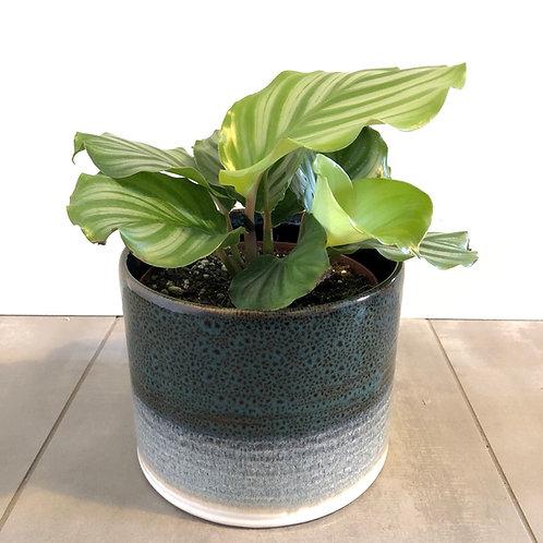 Blue reactive glazed stoneware planter