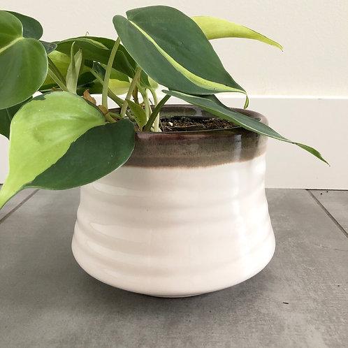 Drip glazed stoneware planter
