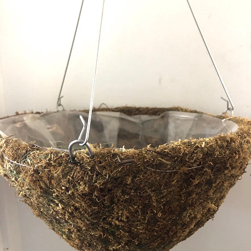 Moss basket with plastic liner and drainage