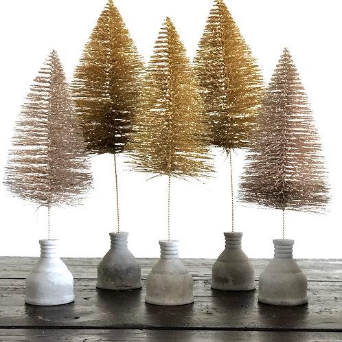 Glitter bottle brush tree with cement base
