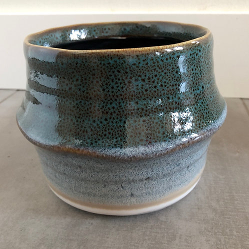 Blue drip glazed stoneware planter