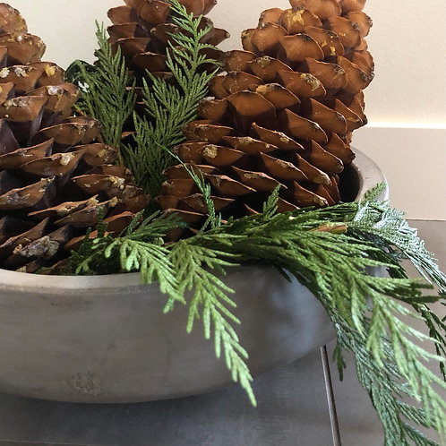 Sugar cone and cedar centerpiece