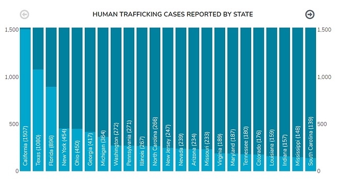 trafficking cases by state 2019 from hot