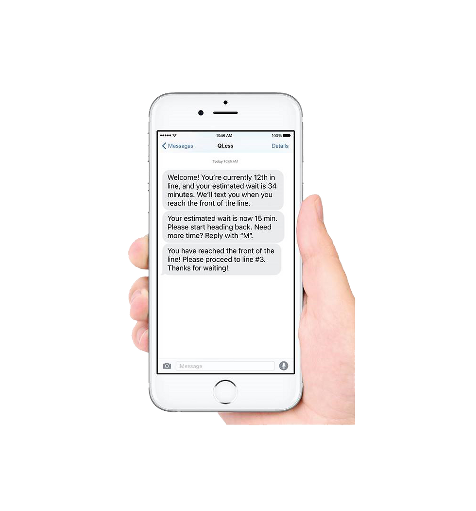QLess Text alerts on iphone