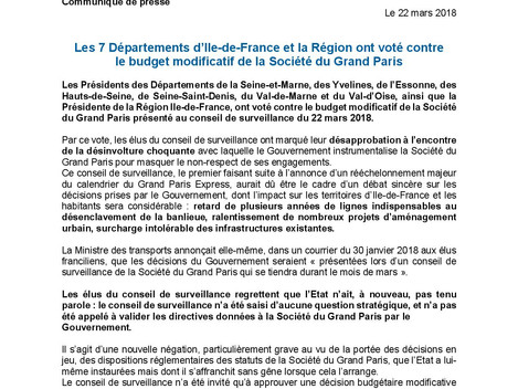 Communiqué de presse concernant le vote contre le budget modificatif de la Société du Grand Paris