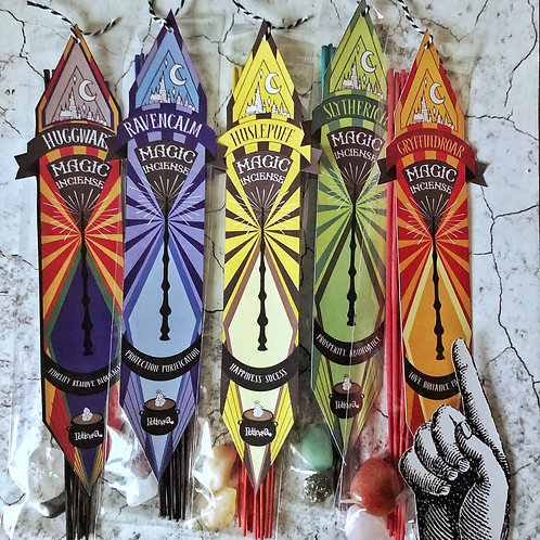 Inciensos Magicos con Cuarzos Casas Hogwarts - Harry Potter