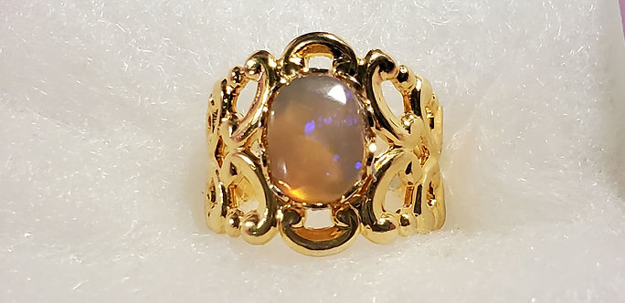 Adjustable 18KGP Australian Opal Ring