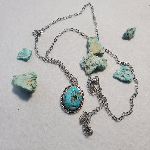 Sterling silver chain and turquoise pendant