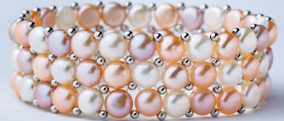 Pink Fresh Water Cultured Pearl & Sterling Silver Bracelet