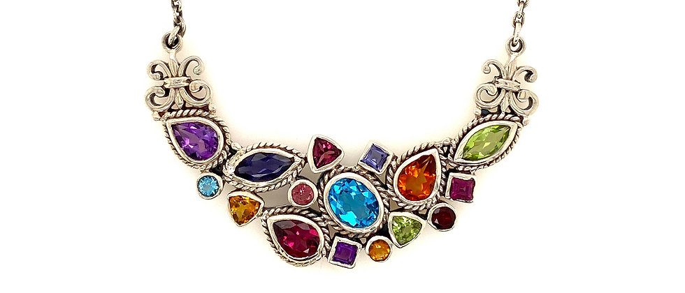 Multi Colored Gemstone and Sterling Silver Necklace