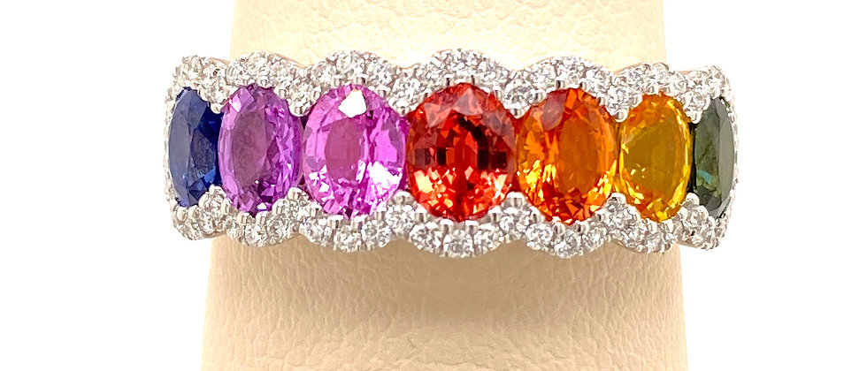 Multi Sapphire and Diamond Ring