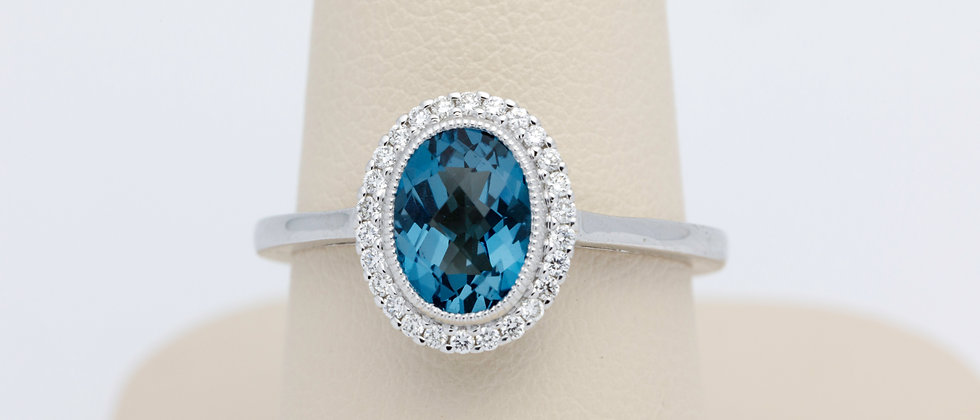 Oval London Blue Topaz and Diamond Ring