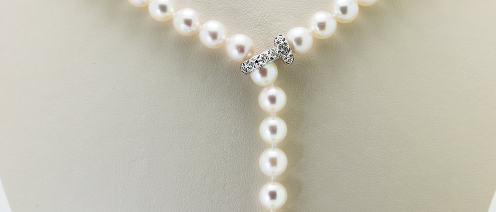 Pearl Strand with Lariat Style Diamond Clasp