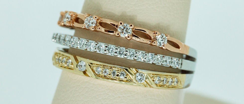 3 Row Diamond Stackable Ring