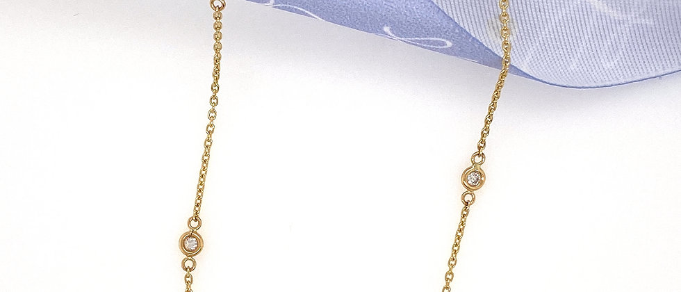 Diamond and 14k Yellow Gold Necklace