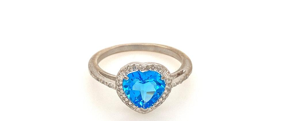 Blue Topaz Heart Ring