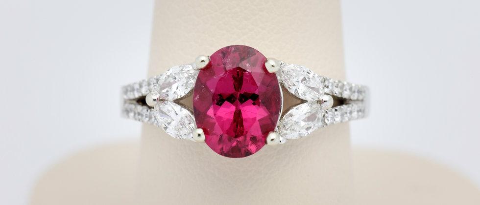 Oval Rubelite Tourmaline and Diamond Ring