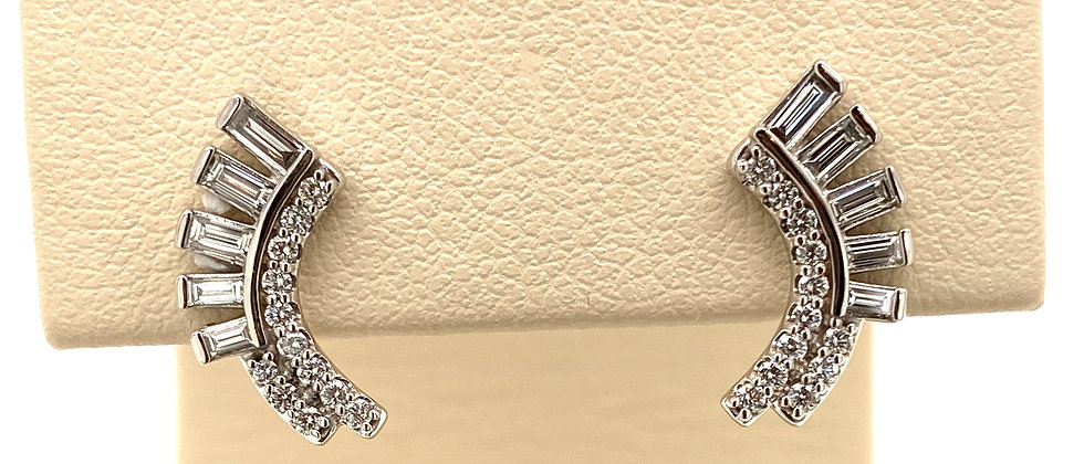 Diamond Curved Fan Drop Earrings