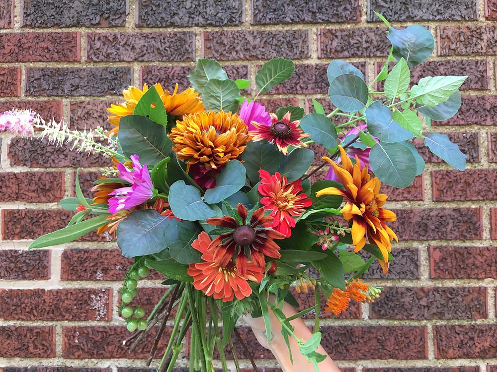 garden bouquet with smoke bush