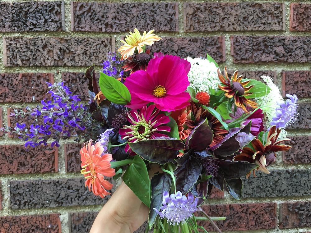 garden bouquet with basil