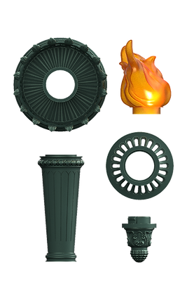 Statue of Liberty torch 3D model assembly